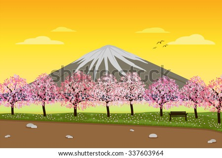 Landscape of Sakura Cherry Blossom tree in Lakeside Park in Evening with Mount Fuji in the background. vector - stock vector