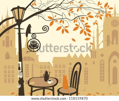 landscape of the old town with a street cafe - stock vector