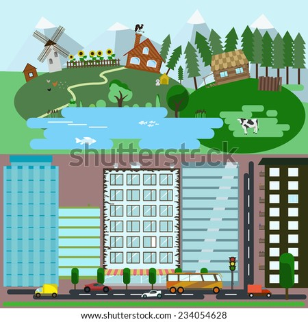Landscape of the village and town with a large number of elements. Cars, trees, flower pots, animals, different types of homes. - stock vector