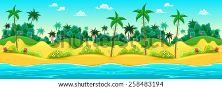 Landscape on the seashore. Vector cartoon illustration, the sides repeat seamlessly for a possible, continuous animation. - stock vector