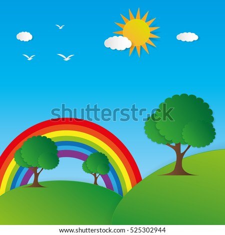 Landscape paper art style vector background showing mountain, tree, rainbow, sun, sky, cloud and sunlight.