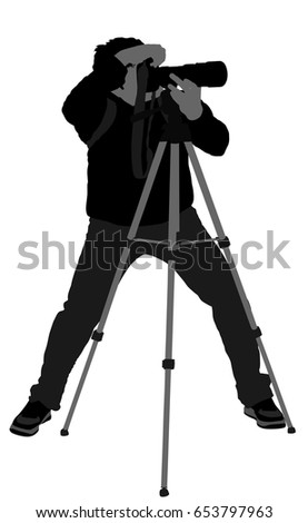 landscape photographer with tripod vector silhouette paparazzi shooting on the event silhouette illustration isolated