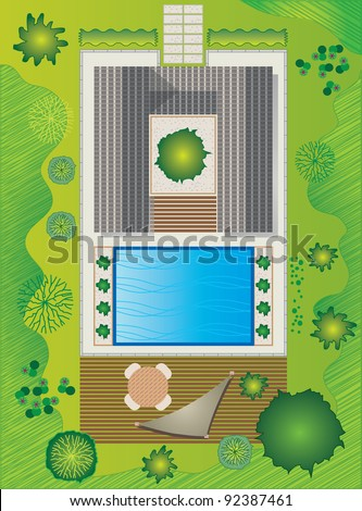 Landscape Plan with House and Pool - Garden Design - stock vector