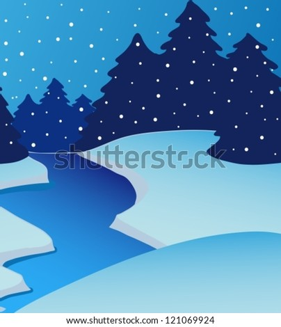Landscape river on winter - vector illustration.