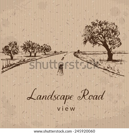 Landscape Road. Hand drawn Vector Illustration - stock vector