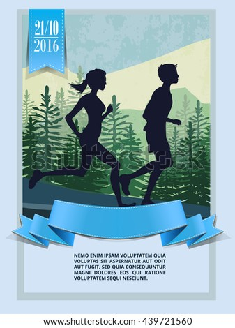 Landscape Running People Silhouette Poster Flyer Stock Vector
