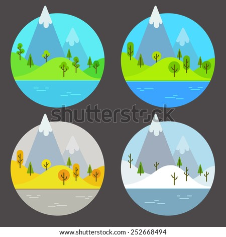 landscape scene in four different seasons of the year, isolated inside a circle - stock vector