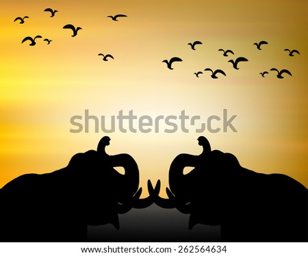 Landscape Scene of branch big Tree Silhouetted against a Beautiful Cloudy Sky at Sunset and elephant. - stock vector