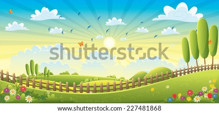 Landscape Scene Vector Illustration - stock vector