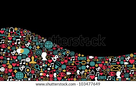 Landscape social media icons set in wave shape layout background. Vector file layered for easy manipulation and custom coloring.