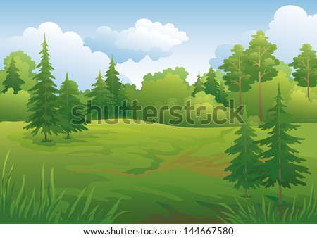 Landscape: summer green forest and blue sky. Vector illustration - stock vector