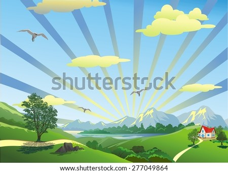 Landscape - the house on the hill in the vector - stock vector