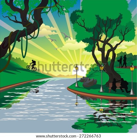 Landscape - the townspeople near the river in the vector
