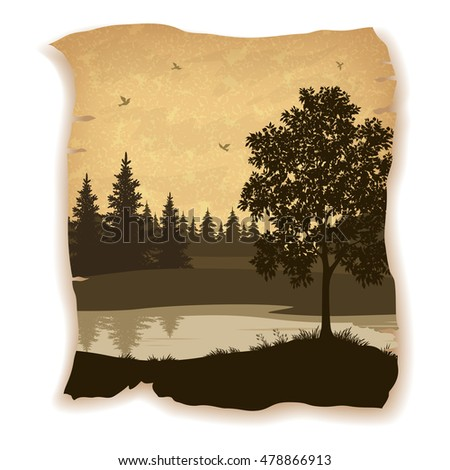 Landscape, Trees, River and Birds Silhouettes on Vintage Background of an Old Sheet of Paper. Eps10, Contains Transparencies. Vector