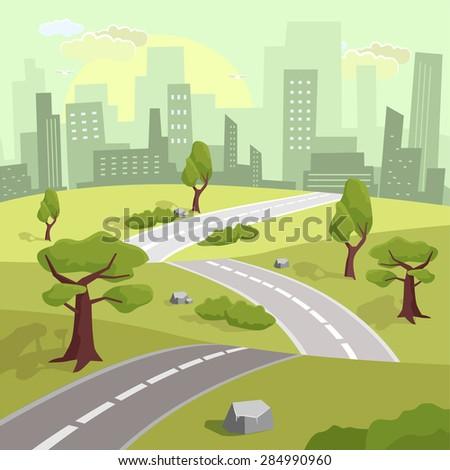 Landscape. Vector flat illustration - stock vector