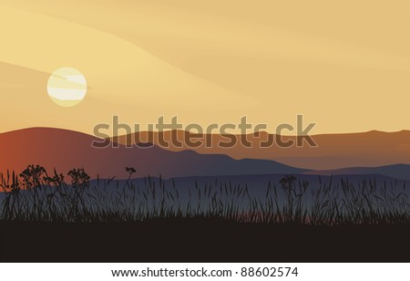 landscape, vector illustration sunset in mountains