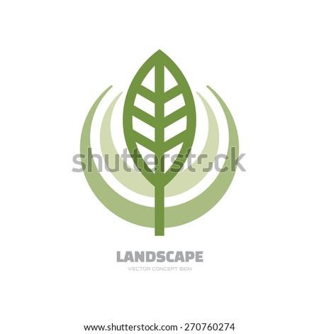 Landscape- vector logo concept illustration. Abstract leaf logo. Vector logo template. Design element. - stock vector