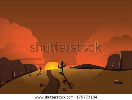 Landscape with a canyon and cactuses - stock vector