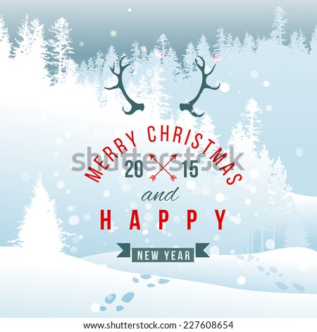 landscape with Christmas type design - stock vector