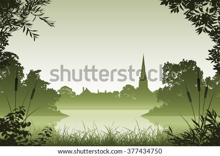 Landscape with Church and Floral Border and Leaves - stock vector