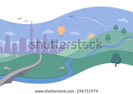 Landscape with City Skyline in Summer - A simple and beautiful vector illustration in a clean and flat style with flowing curves. Rolling hills, soaring birds and a plane flying in the clear blue sky. - stock vector