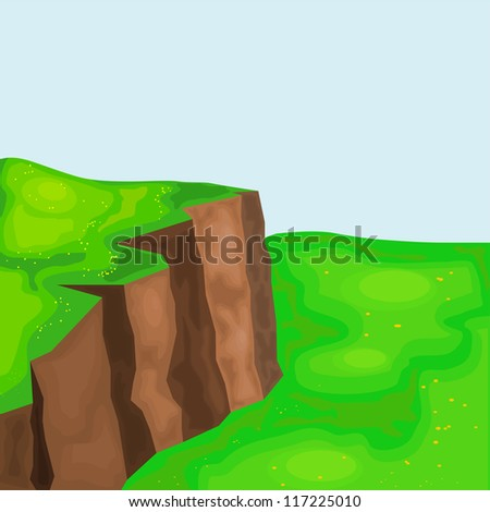 landscape with cliffs and meadows. eps10 - stock vector