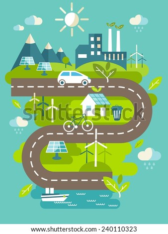 Landscape with ecology concept. Landscape with buildings, transport and nature ecology elements in flat style
