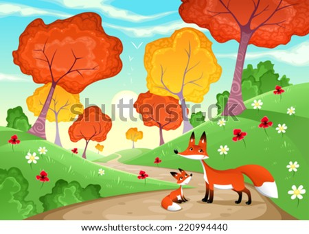Landscape with family of foxes. Cartoon and vector illustration - stock vector