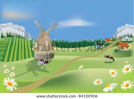 landscape with field and village - stock vector