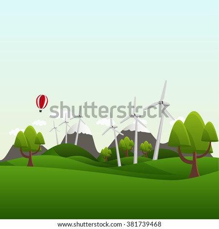 Landscape with fields and hills. Think Green, ecology Concept.  - stock vector