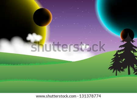 Landscape with four planets on the sky (Vector) - stock vector