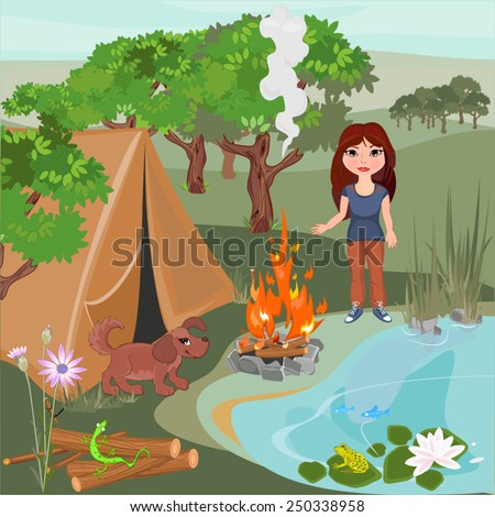 Landscape with girl and puppy - stock vector