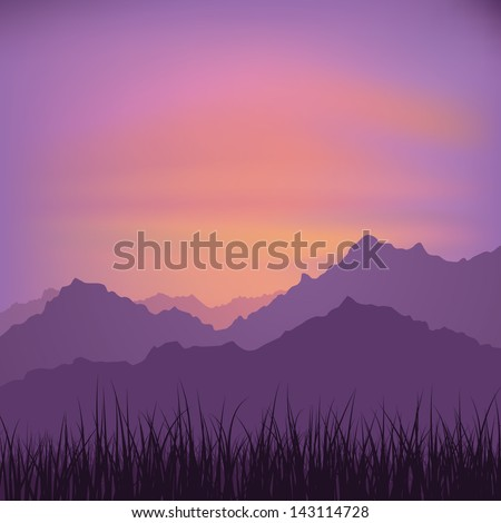 Landscape with grass and mountains (vector) - stock vector
