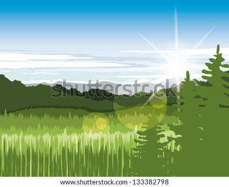Landscape with green meadows and mountains - stock vector