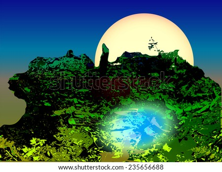 Landscape with green swamp, pond and moonlight - stock vector