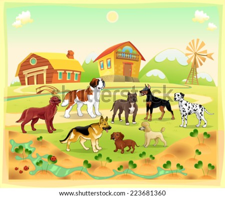 Landscape with group of dogs. Vector cartoon illustration. - stock vector