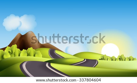Landscape with hills, road and sun - stock vector