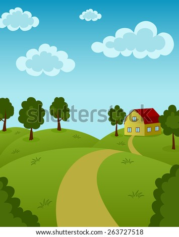 Landscape with house and road - stock vector