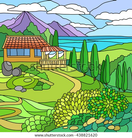 Landscape with house and sea coloring hand drawn vector illustration