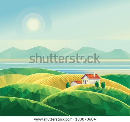 Landscape with hut. Polygon illustration (vector).