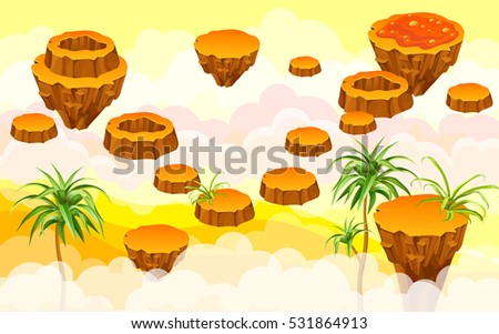 Landscape with islands. Vector illustration for web games.