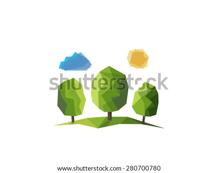 Landscape with lawn and trees  on low poly style. - stock vector