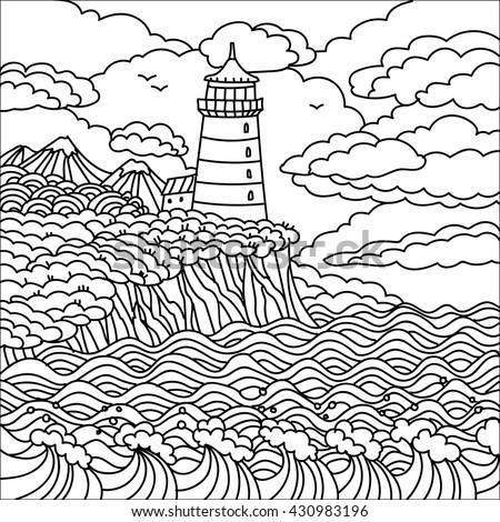 Landscape Lighthouse Mountains Sky Sea Line Stock Vector ...