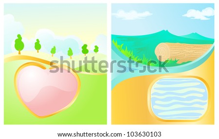 landscape with love icon  water tank as blank space for text background