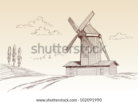 landscape with mill drawn vector llustration - stock vector