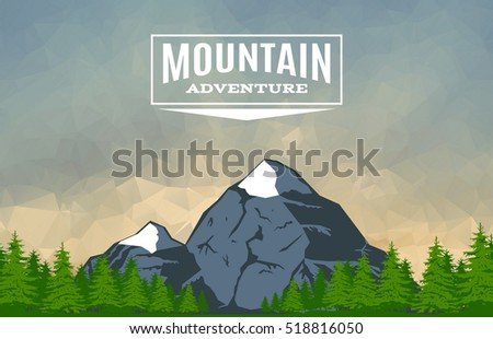 Landscape With Mountain Peaks and Forest On Triangulated Background. Polygonal Art. Mountain Expedition Banner. Modern Design Vector Illustration
