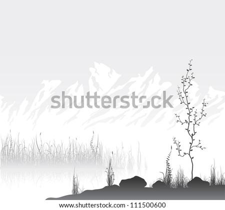 Landscape with mountain range near lake. Vector illustration. - stock vector