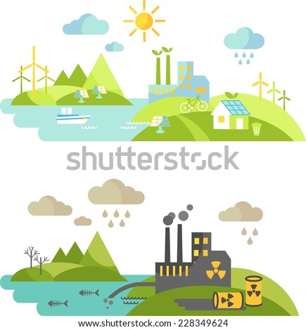 Landscape with nature ecology elements and ecology problem concept in flat style
