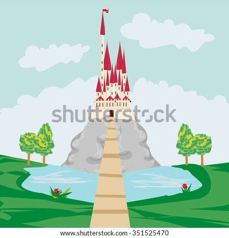 landscape with old castle on the rock - stock vector