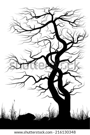 Landscape with old tree and grass over white background. Black and white vector illustration. - stock vector